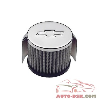 Chevrolet Performance Chrome Push-In Air Filter Cap with Hood, 3in Diameter, Fits 1.22 in. Holes - part #141-621