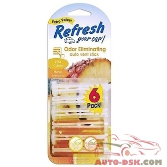 Refresh Your Car Auto Vent Stick Air Fresheners, Pina Colada/Mango Mandarin (6 Pack) - part #09421T